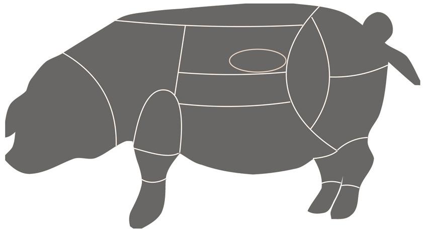 Fleischteile beim Angler Sattelschwein